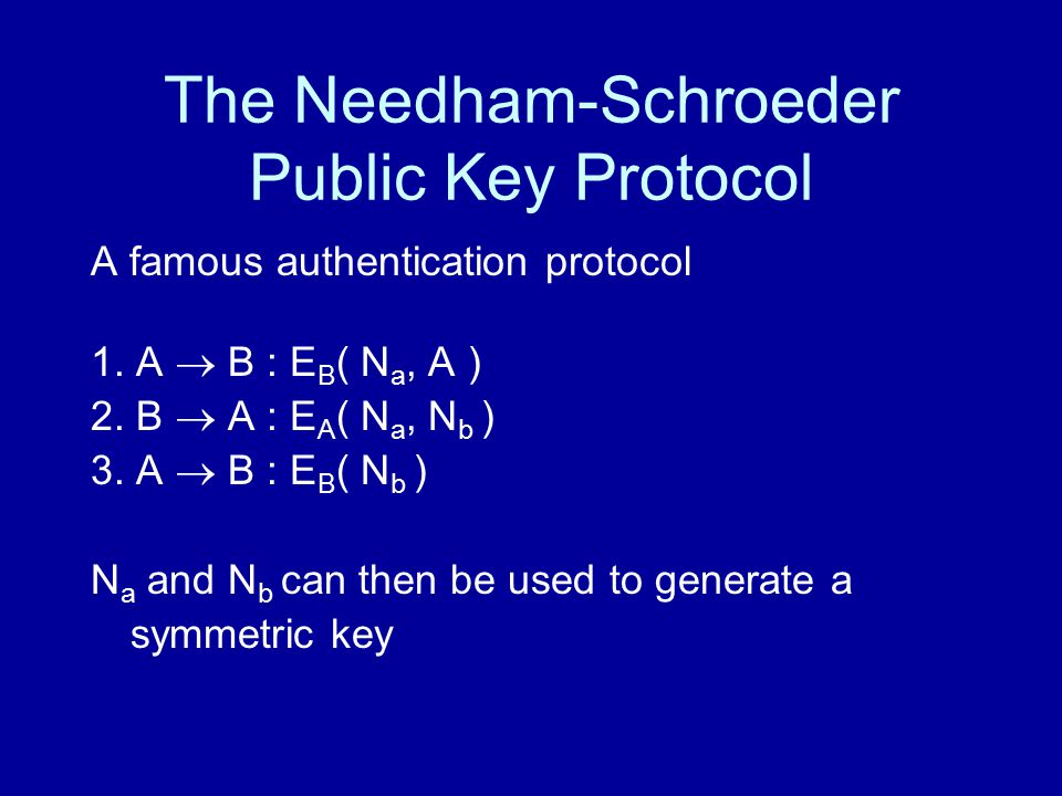 The Needham-Schroeder Public Key Protocol A famous authentication protocol 1.