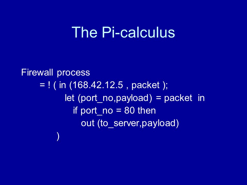 The Pi-calculus Firewall process = .