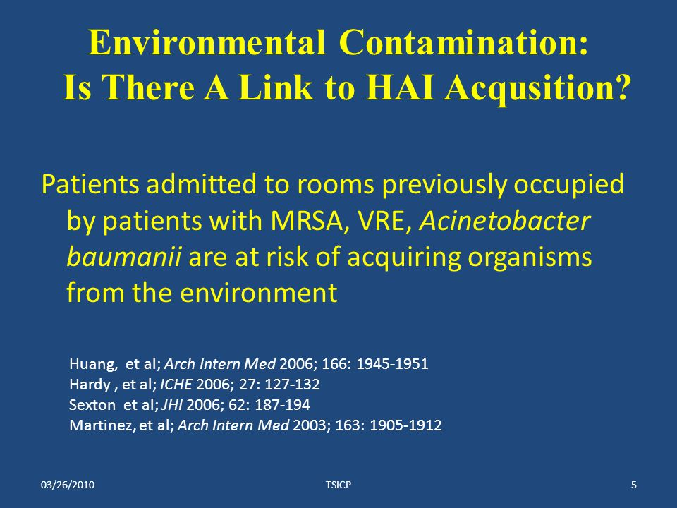Environmental Contamination: Is There A Link to HAI Acqusition.