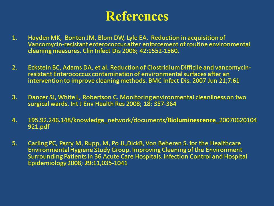 References 1.Hayden MK, Bonten JM, Blom DW, Lyle EA.