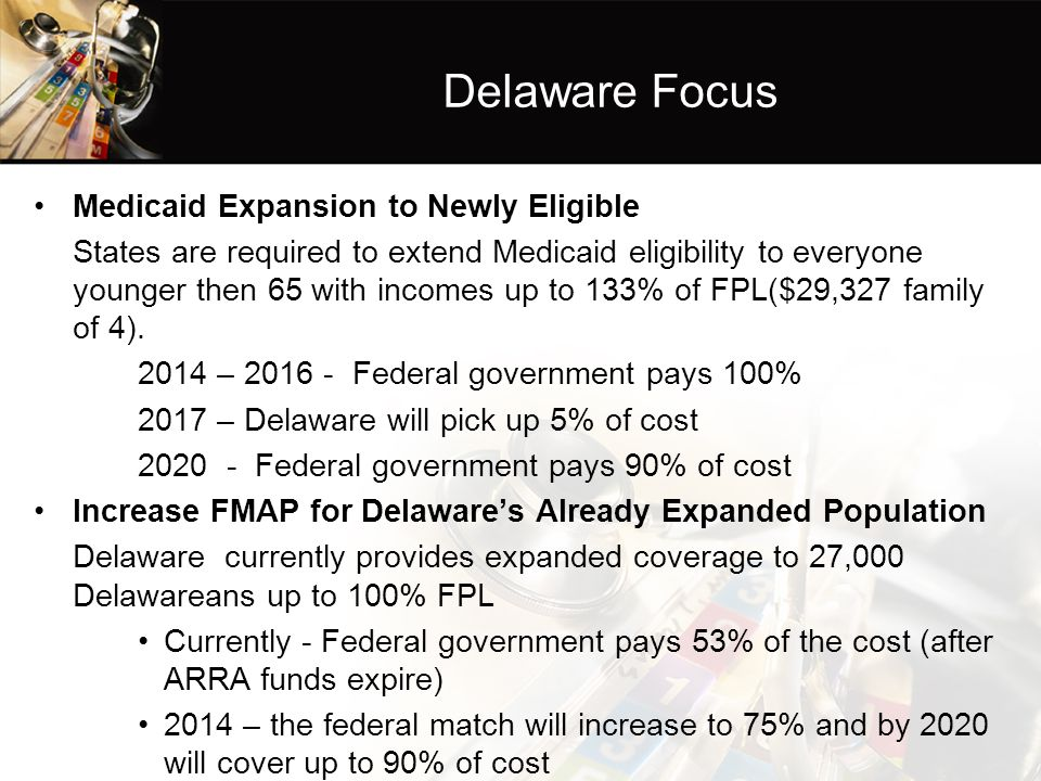 Delaware Focus Medicaid Expansion to Newly Eligible States are required to extend Medicaid eligibility to everyone younger then 65 with incomes up to 133% of FPL($29,327 family of 4).