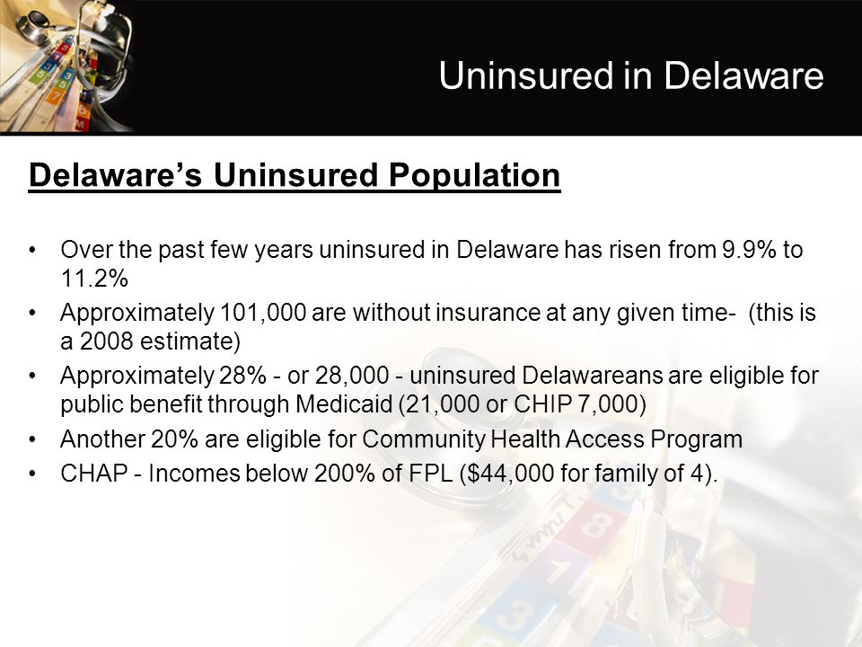 Uninsured in Delaware Delaware's Uninsured Population Over the past few years uninsured in Delaware has risen from 9.9% to 11.2% Approximately 101,000