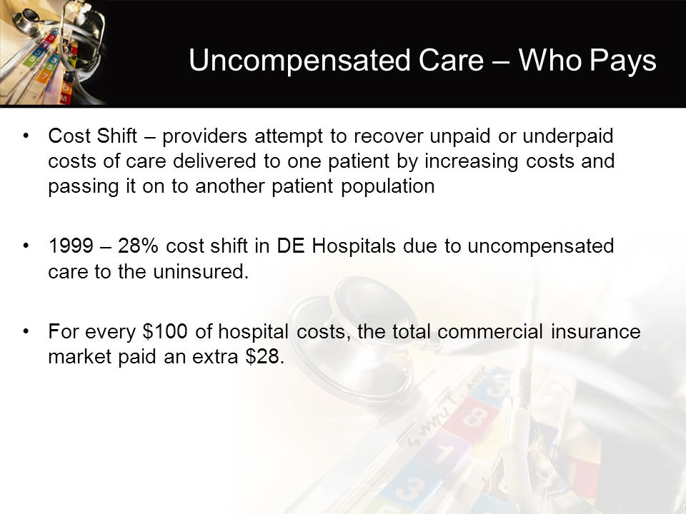 Uncompensated Care – Who Pays Cost Shift – providers attempt to recover unpaid or underpaid costs of care delivered to one patient by increasing costs and passing it on to another patient population 1999 – 28% cost shift in DE Hospitals due to uncompensated care to the uninsured.