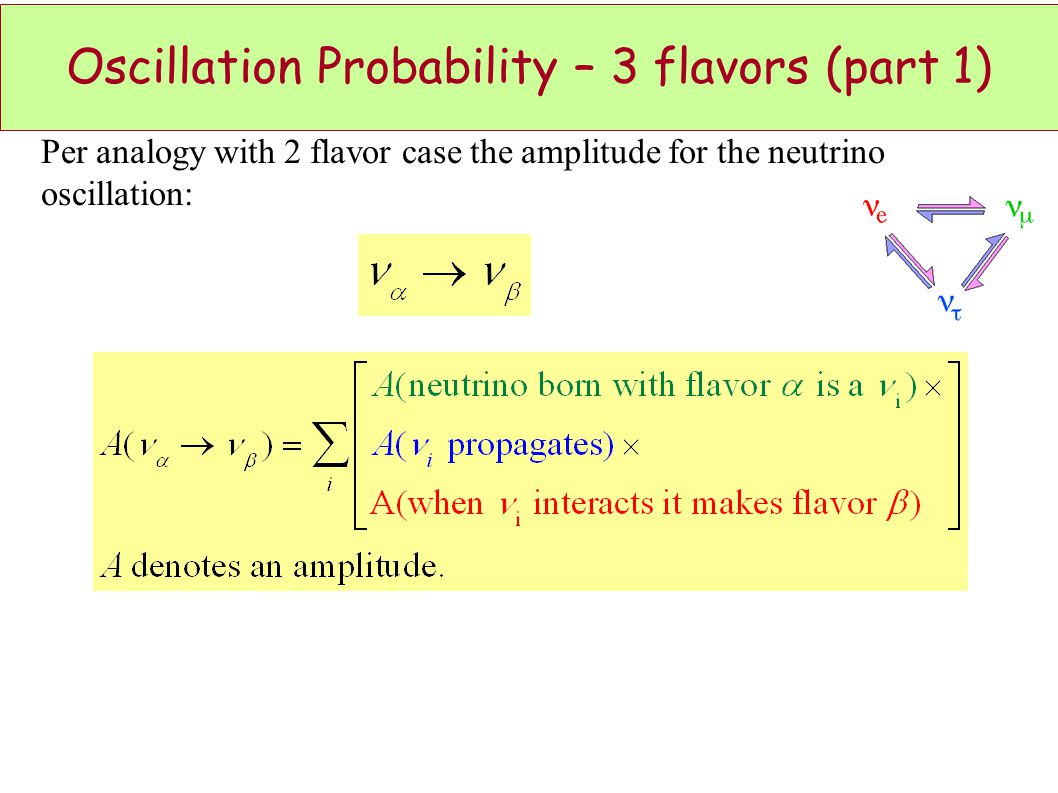 Oscillation Probability – 3 flavors (part 1) Per analogy with 2 flavor case the amplitude for the neutrino oscillation: