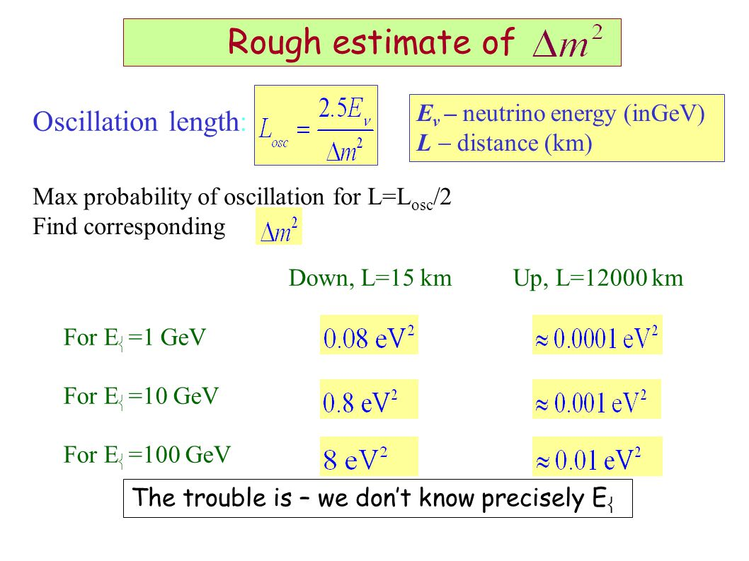 Down, L=15 kmUp, L=12000 km For E  =1 GeV For E  =10 GeV For E  =100 GeV Max probability of oscillation for L=L osc /2 Find corresponding Rough estimate of Oscillation length: E ν  – neutrino energy (inGeV) L  distance (km) The trouble is – we don't know precisely E 