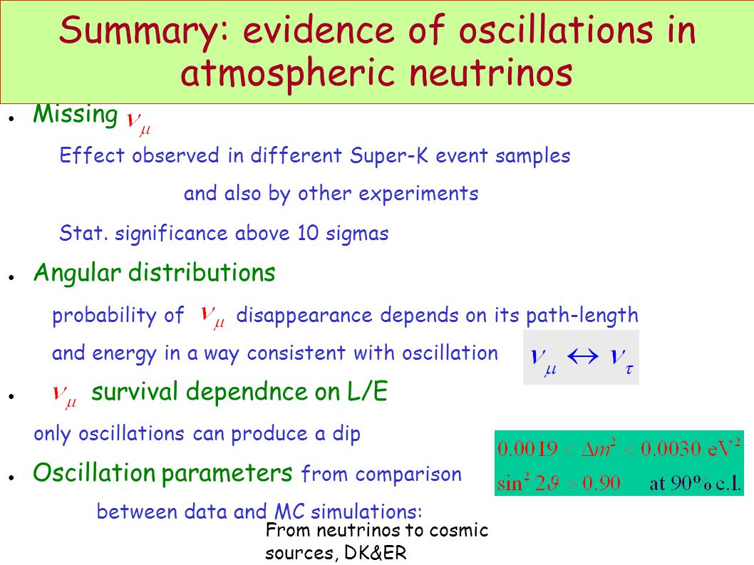 From neutrinos to cosmic sources, DK&ER Summary: evidence of oscillations in atmospheric neutrinos ● Missing Effect observed in different Super-K event samples and also by other experiments Stat.