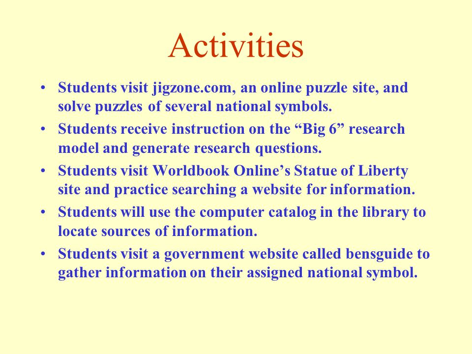 Let Freedom Ring Instructional Objectives Students will score 80% or higher on a test that requires them to correctly identify twelve national symbols when reading a descriptive phrase(s) about each symbol.