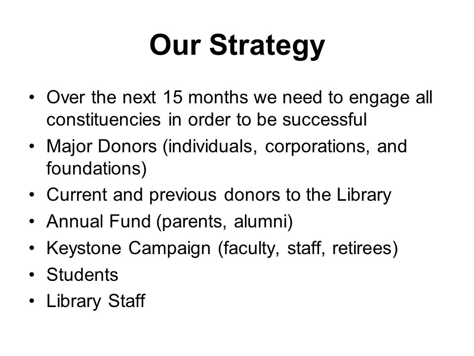 Our Strategy Over the next 15 months we need to engage all constituencies in order to be successful Major Donors (individuals, corporations, and foundations) Current and previous donors to the Library Annual Fund (parents, alumni) Keystone Campaign (faculty, staff, retirees) Students Library Staff