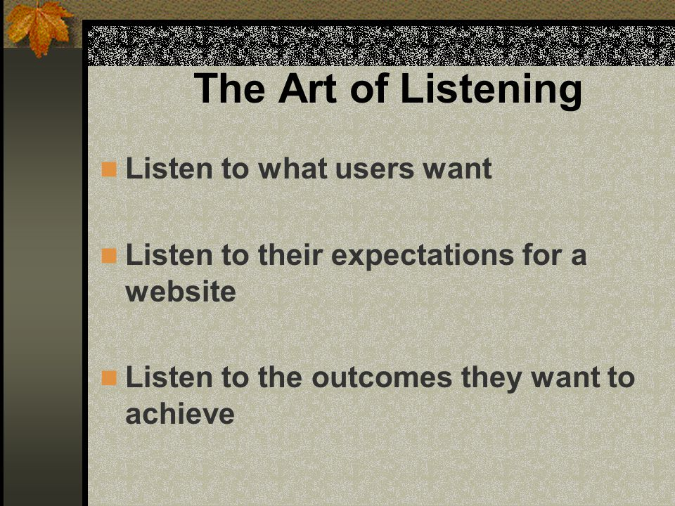Process 1.Identify, watch and listen to users 2.Record user behaviour 3.