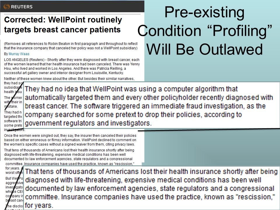 """Pre-existing Condition """"Profiling"""" Will Be Outlawed"""