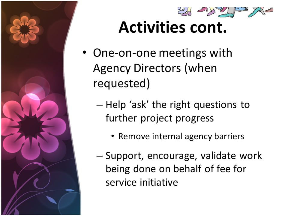 Activities cont. One-on-one meetings with Agency Directors (when requested) – Help 'ask' the right questions to further project progress Remove intern