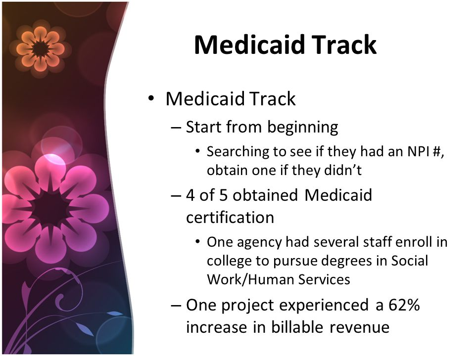 Medicaid Track – Start from beginning Searching to see if they had an NPI #, obtain one if they didn't – 4 of 5 obtained Medicaid certification One agency had several staff enroll in college to pursue degrees in Social Work/Human Services – One project experienced a 62% increase in billable revenue