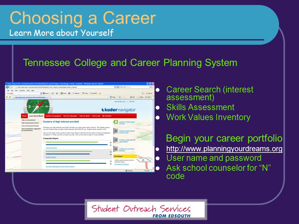 Choosing a Career Learn More about Yourself Career Search (interest assessment) Skills Assessment Work Values Inventory Begin your career portfolio ht