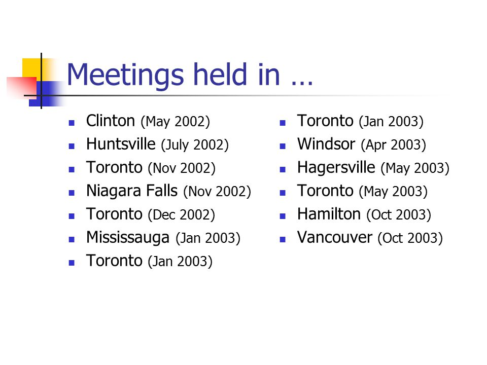 Meetings held in … Clinton (May 2002) Huntsville (July 2002) Toronto (Nov 2002) Niagara Falls (Nov 2002) Toronto (Dec 2002) Mississauga (Jan 2003) Toronto (Jan 2003) Windsor (Apr 2003) Hagersville (May 2003) Toronto (May 2003) Hamilton (Oct 2003) Vancouver (Oct 2003)