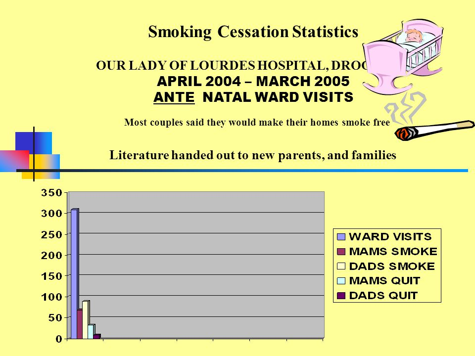 APRIL 2004 – MARCH 2005 ANTE NATAL WARD VISITS Smoking Cessation Statistics OUR LADY OF LOURDES HOSPITAL, DROGHEDA Literature handed out to new parents, and families Most couples said they would make their homes smoke free
