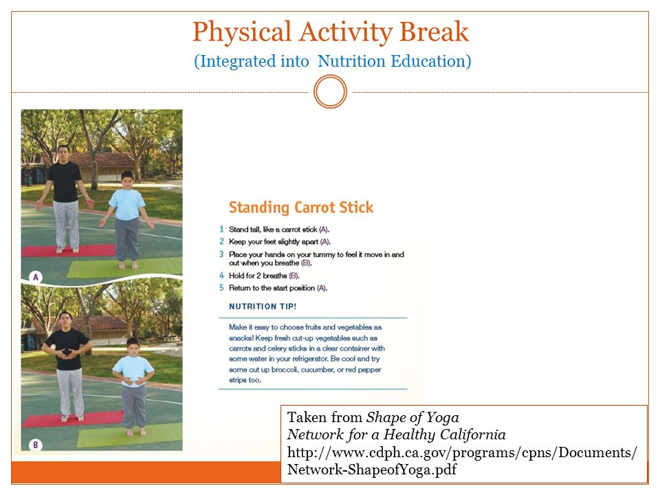 Physical Activity Break (Integrated into Nutrition Education) Taken from Shape of Yoga Network for a Healthy California http://www.cdph.ca.gov/programs/cpns/Documents/ Network-ShapeofYoga.pdf