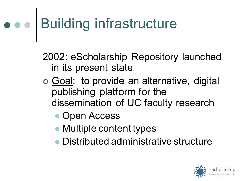 2002: eScholarship Repository launched in its present state Goal: to provide an alternative, digital publishing platform for the dissemination of UC faculty research Open Access Multiple content types Distributed administrative structure Building infrastructure