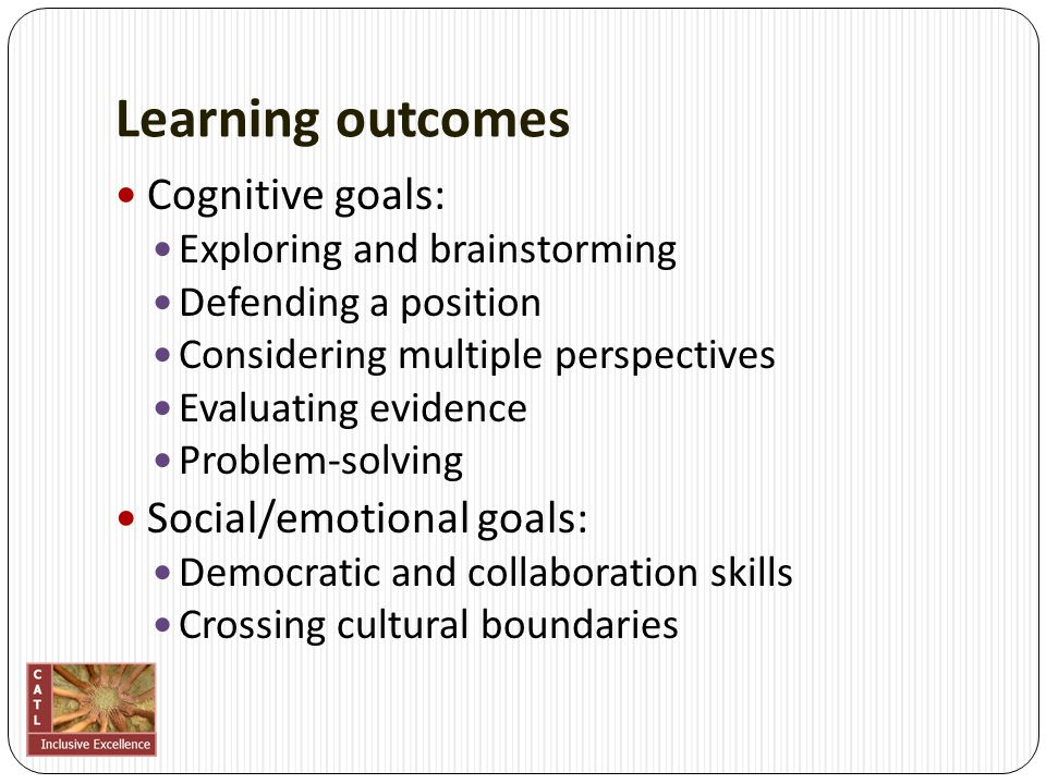Learning outcomes Cognitive goals: Exploring and brainstorming Defending a position Considering multiple perspectives Evaluating evidence Problem-solv
