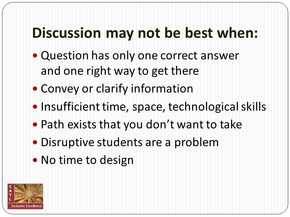 Designing a discussion