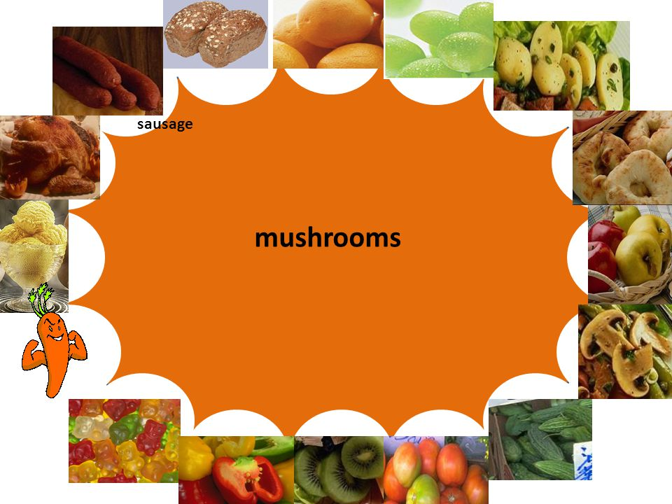 Let's play Words and pictures mushrooms sausage