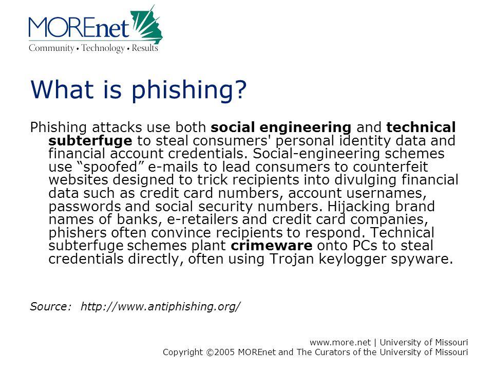 www.more.net | University of Missouri Copyright ©2005 MOREnet and The Curators of the University of Missouri What is phishing? Phishing attacks use bo
