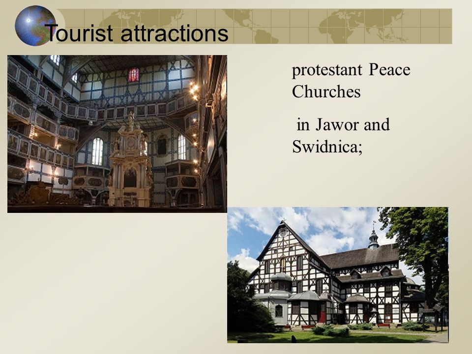 Tourist attractions protestant Peace Churches in Jawor and Swidnica;