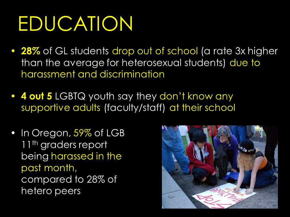 28% of GL students drop out of school (a rate 3x higher than the average for heterosexual students) due to harassment and discrimination 4 out 5 LGBTQ youth say they don't know any supportive adults (faculty/staff) at their school EDUCATION In Oregon, 59% of LGB 11 th graders report being harassed in the past month, compared to 28% of hetero peers
