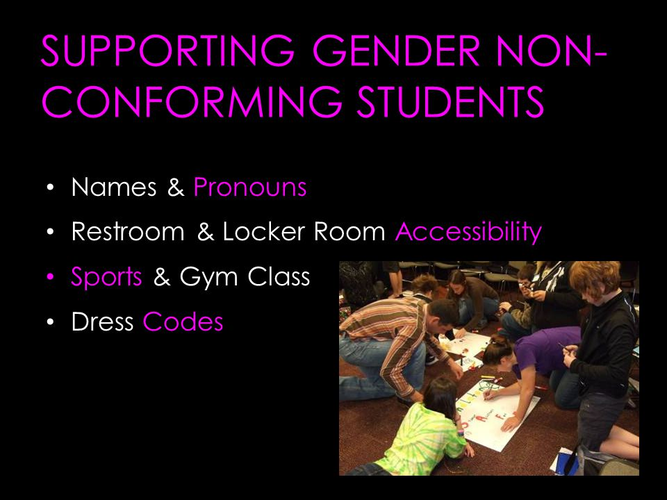 SUPPORTING GENDER NON- CONFORMING STUDENTS Names & Pronouns Restroom & Locker Room Accessibility Sports & Gym Class Dress Codes