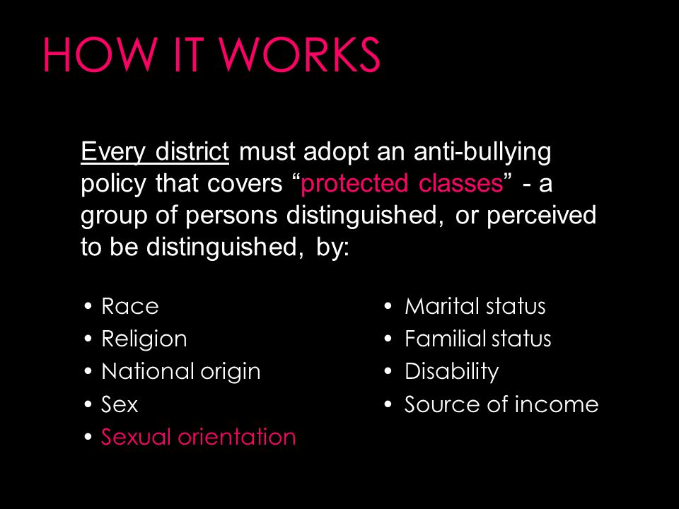 HOW IT WORKS Race Religion National origin Sex Sexual orientation Every district must adopt an anti-bullying policy that covers protected classes - a group of persons distinguished, or perceived to be distinguished, by: Marital status Familial status Disability Source of income