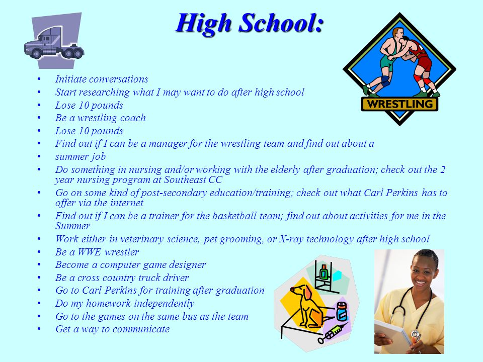 High School: Initiate conversations Start researching what I may want to do after high school Lose 10 pounds Be a wrestling coach Lose 10 pounds Find out if I can be a manager for the wrestling team and find out about a summer job Do something in nursing and/or working with the elderly after graduation; check out the 2 year nursing program at Southeast CC Go on some kind of post-secondary education/training; check out what Carl Perkins has to offer via the internet Find out if I can be a trainer for the basketball team; find out about activities for me in the Summer Work either in veterinary science, pet grooming, or X-ray technology after high school Be a WWE wrestler Become a computer game designer Be a cross country truck driver Go to Carl Perkins for training after graduation Do my homework independently Go to the games on the same bus as the team Get a way to communicate