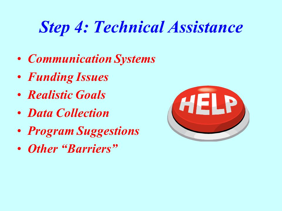"Step 4: Technical Assistance Communication Systems Funding Issues Realistic Goals Data Collection Program Suggestions Other ""Barriers"""
