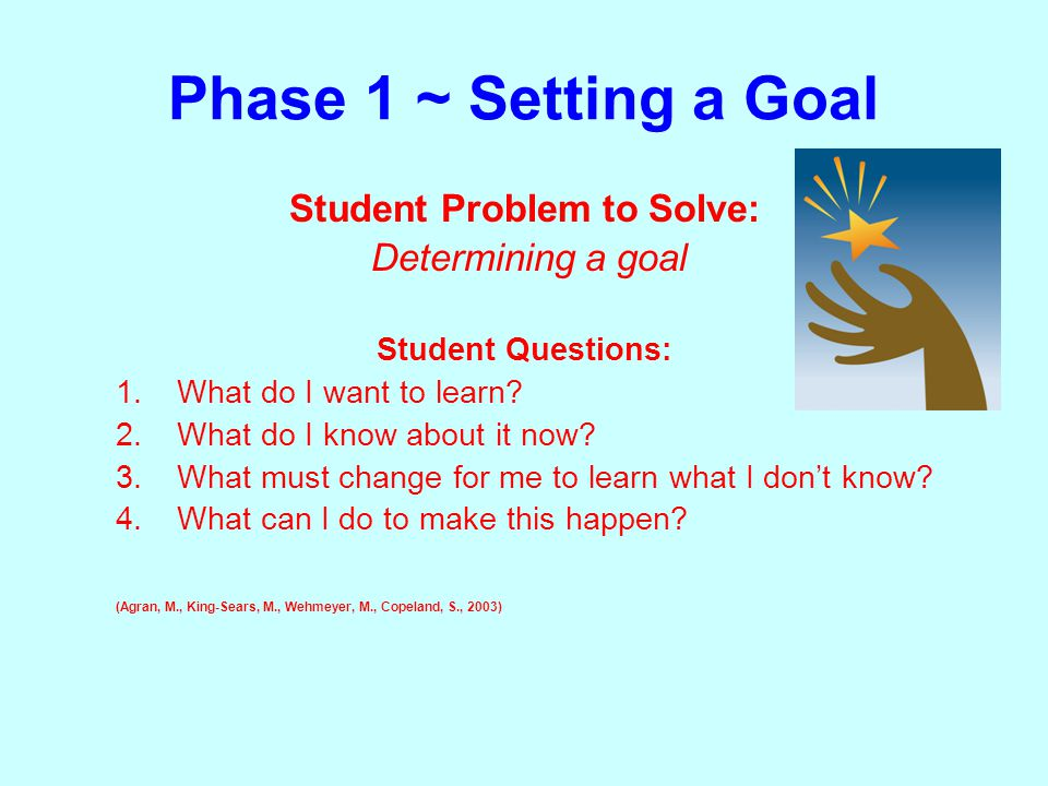 Phase 1 ~ Setting a Goal Student Problem to Solve: Determining a goal Student Questions: 1.What do I want to learn.
