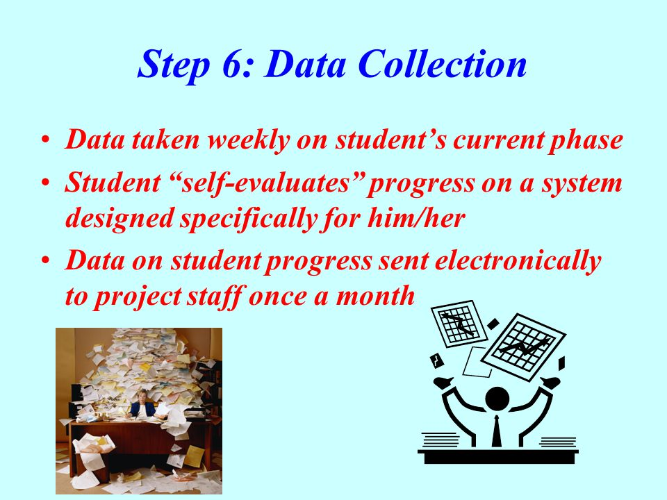 Step 6: Data Collection Data taken weekly on student's current phase Student self-evaluates progress on a system designed specifically for him/her Data on student progress sent electronically to project staff once a month