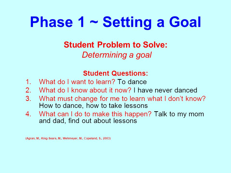 Phase 1 ~ Setting a Goal Student Problem to Solve: Determining a goal Student Questions: 1.What do I want to learn? To dance 2.What do I know about it