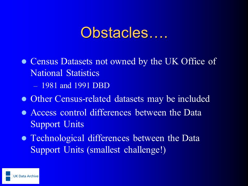 Obstacles…. Census Datasets not owned by the UK Office of National Statistics – 1981 and 1991 DBD Other Census-related datasets may be included Access