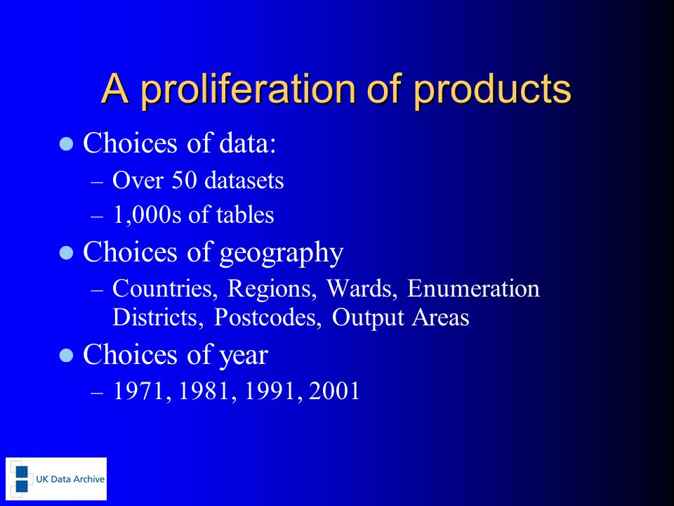 A proliferation of products Choices of data: – Over 50 datasets – 1,000s of tables Choices of geography – Countries, Regions, Wards, Enumeration Districts, Postcodes, Output Areas Choices of year – 1971, 1981, 1991, 2001