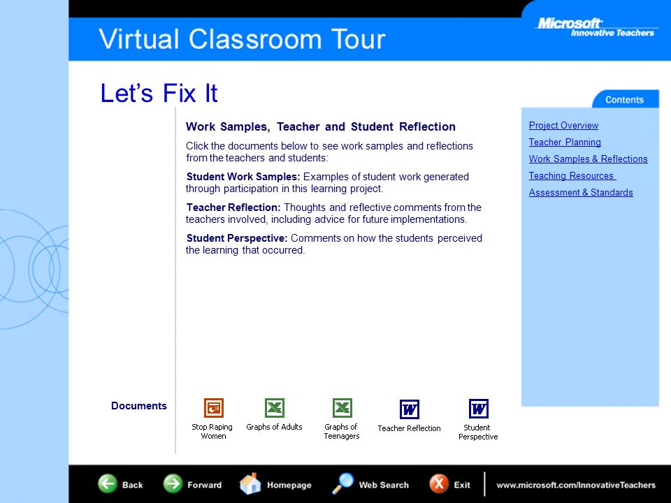 Let's Fix It Project Overview Teacher Planning Work Samples & Reflections Teaching Resources Assessment & Standards Work Samples, Teacher and Student Reflection Click the documents below to see work samples and reflections from the teachers and students: Student Work Samples: Examples of student work generated through participation in this learning project.