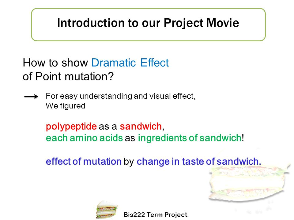 Bis222 Term Project 1 How to show Dramatic Effect of Point mutation? For easy understanding and visual effect, We figured polypeptide as a sandwich, e