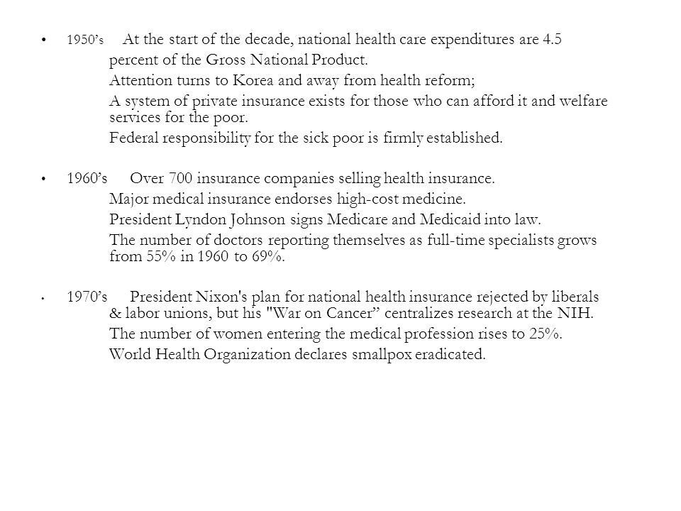 1950's At the start of the decade, national health care expenditures are 4.5 percent of the Gross National Product.