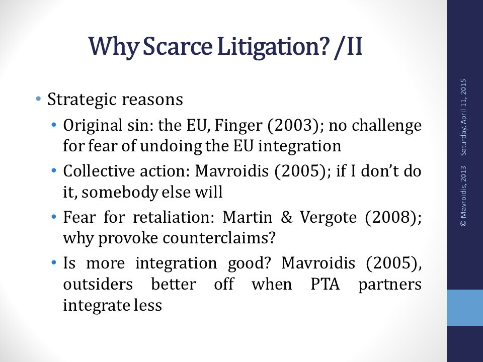 Why Scarce Litigation.