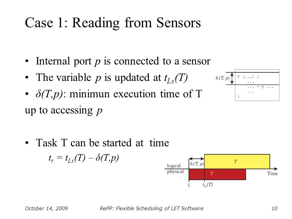 RePP: Flexible Scheduling of LET Software October 14, 200910 Case 1: Reading from Sensors Internal port p is connected to a sensor The variable p is updated at t Ls (T) δ(T,p): minimun execution time of T up to accessing p Task T can be started at time t r = t Ls (T) – δ(T,p)