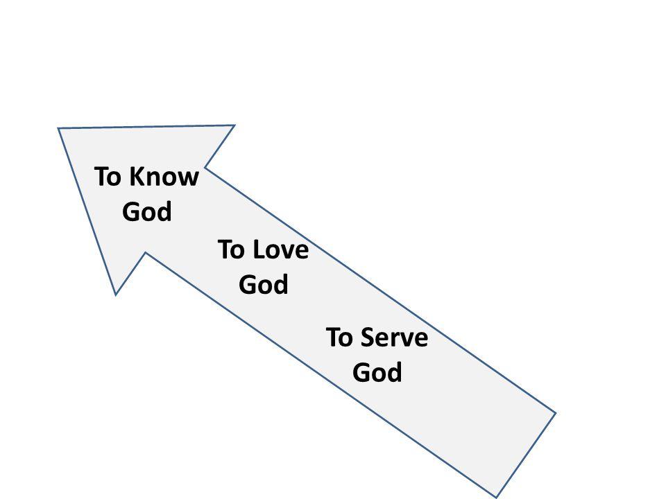 To Know God To Love God To Serve God