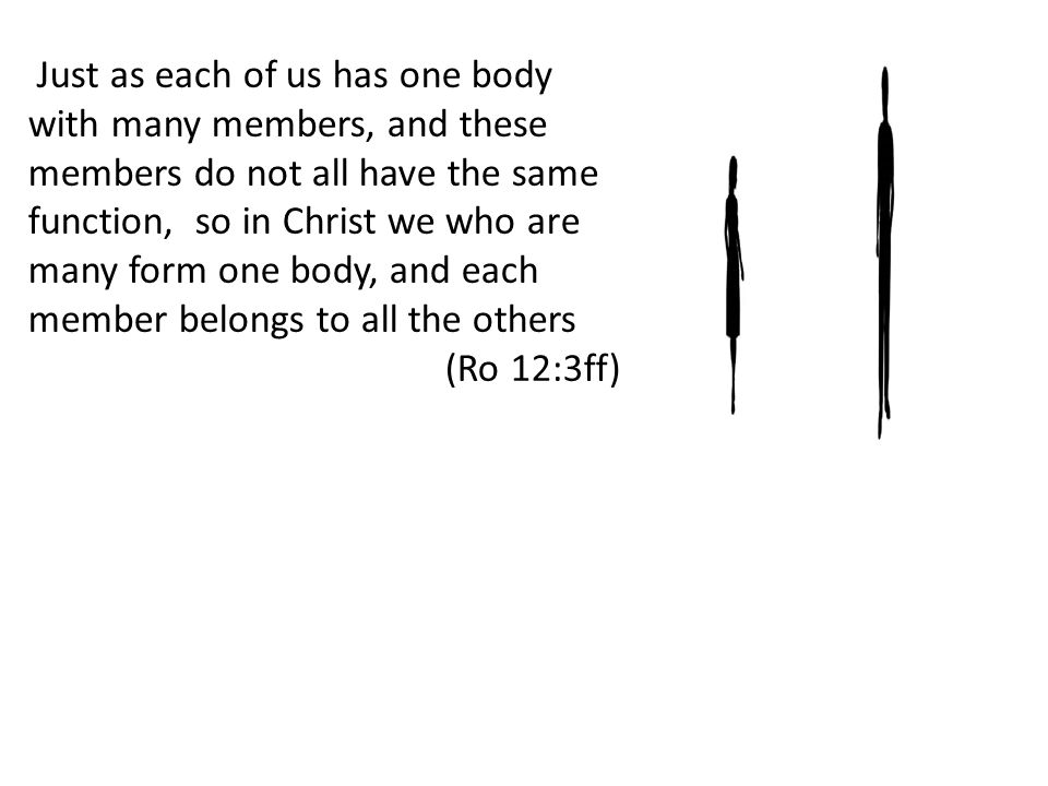Just as each of us has one body with many members, and these members do not all have the same function, so in Christ we who are many form one body, and each member belongs to all the others (Ro 12:3ff)
