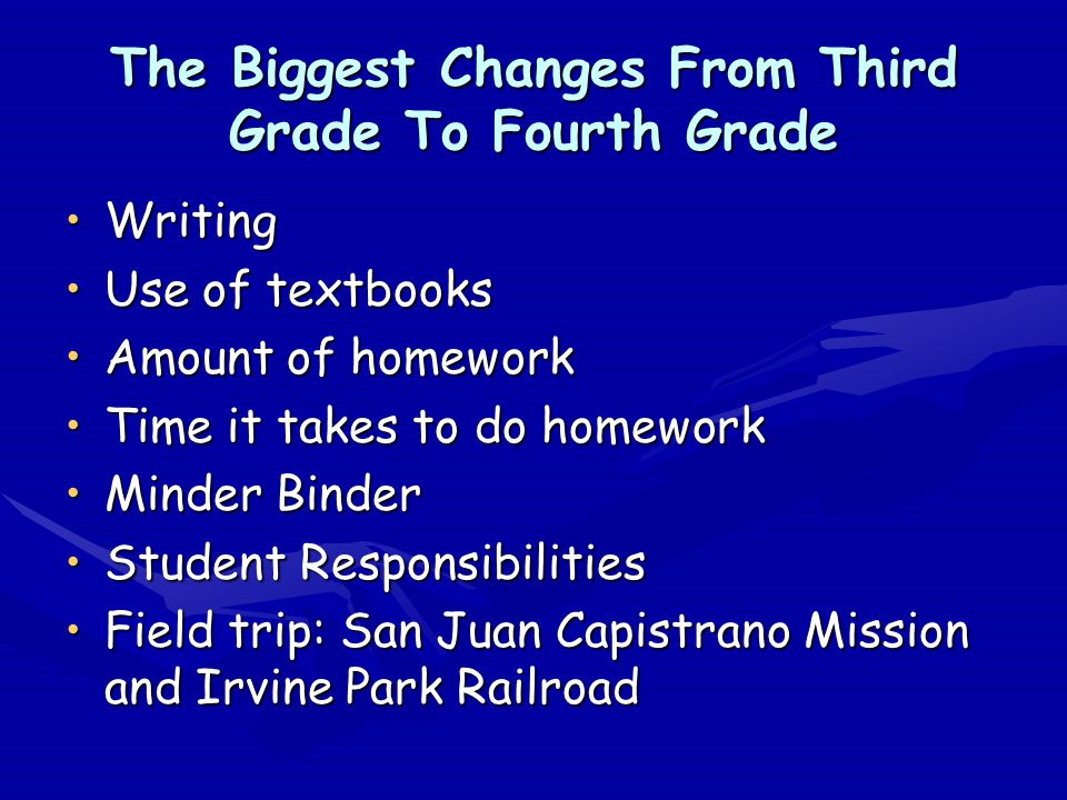 The Biggest Changes From Third Grade To Fourth Grade WritingWriting Use of textbooksUse of textbooks Amount of homeworkAmount of homework Time it take