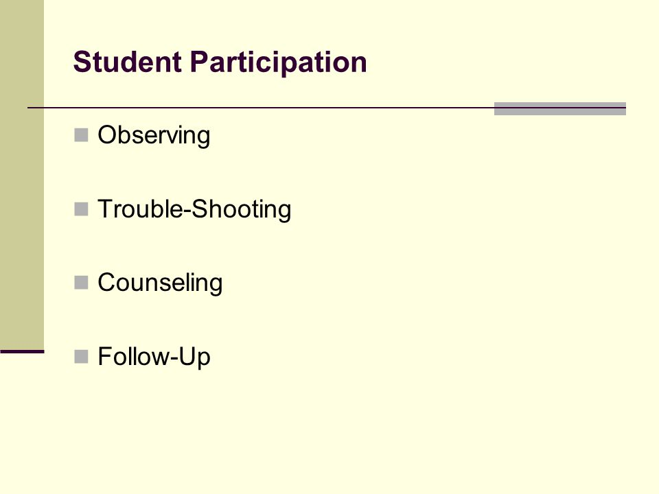 Student Participation Observing Trouble-Shooting Counseling Follow-Up