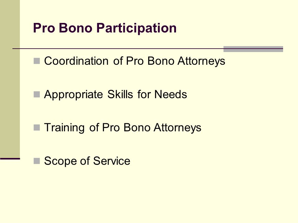 Pro Bono Participation Coordination of Pro Bono Attorneys Appropriate Skills for Needs Training of Pro Bono Attorneys Scope of Service