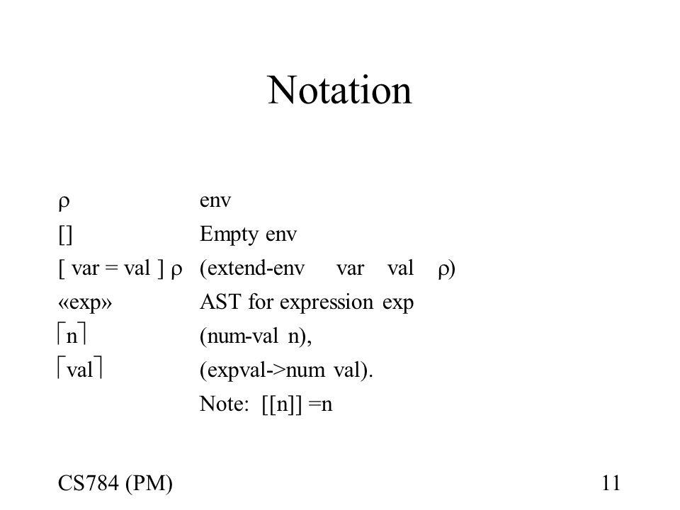 Notation Denotes  env []Empty env [ var = val ]  (extend-env var val  ) «exp»AST for expression exp nn (num-val n),  val  (expval->num val).