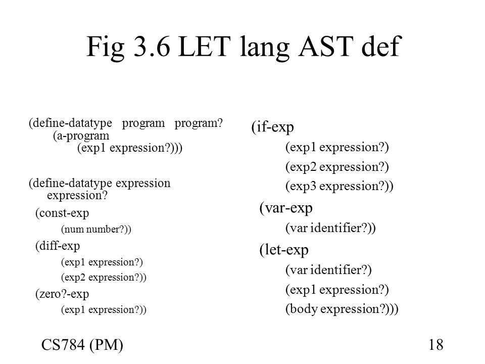 Fig 3.6 LET lang AST def (define-datatype program program.