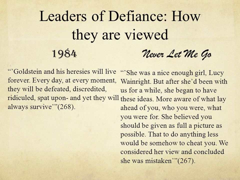 Leaders of Defiance: How they are viewed 1984 'Goldstein and his heresies will live forever.