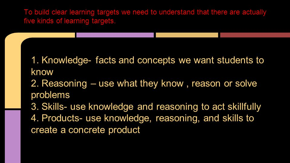 1.Knowledge- facts and concepts we want students to know 2.